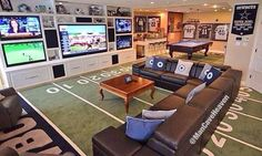 I don't even like football that much but this man cave is amazing.
