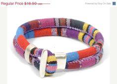 SALE colorful ethnic bracelet * fabric bracelet * hippie bracelet * ethnic style bracelet * fabric and zamak bracelet * purple bracelet #etsy #silverjewelry