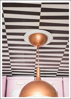 Walk-in Closet Makeover (Ikea pendant painted copper and ceiling Lindholm wallpaper by @wallpaperdirect )