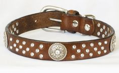 Western Leather Dog Collar, Brown Full Grain Reclaimed Leather, w/ Handset Jewels. Custom sizes medium to large by Studio1070 on Etsy https://www.etsy.com/listing/259750780/western-leather-dog-collar-brown-full