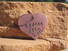 The Sydney  Copper Heart Handstamped Pet ID Tag by veryvintage  Very Sweet