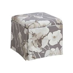 Anne Skirted Ottoman Gray Floral Ottomans (335 CAD) ❤ liked on Polyvore featuring home, furniture, ottomans, grey footstool, oversized furniture, handcrafted furniture, oversized ottoman and gray ottoman