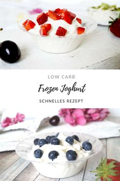 Make frozen yoghurt low carb yourself without an ice cream maker-Frozen Joghurt Low Carb ohne Eismaschine selbst machen carb yogurt without - Homemade Strawberry Ice Cream, Blueberry Ice Cream, Lemon Ice Cream, Homemade Ice Cream, Yogurt Recipes, Dessert Recipes, Fruit Calories, Breakfast Sandwich Recipes, Ice Cream Party