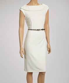 Look what I found on #zulily! Ivory Ascot Belted Sleeveless Dress by Joy Mark #zulilyfinds