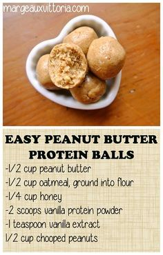 Post Workout Protein Balls & Energy Bites - No Bake, Easy To Make! - Fitter Past Forty - Easy Peanut Butter Protein Balls, gluten free, no bake and no refined sugar. Healthy Protein Snacks, Protein Bites, Protein Foods, Healthy Sweets, Healthy Drinks, Healthy Eating, Healthy Filling Snacks, Fruits High In Protein, Clean Eating