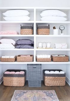 ideas linen closet remodel walk in for 2019 Bathroom Closet Organization, Bathroom Organisation, Closet Storage, Airing Cupboard Organisation, Household Organization, Attic Storage, Storage Organization, Storage Ideas, Bathroom Ideas