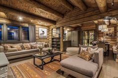 Log Home Interiors, Timber Cabin, Cozy Furniture, Compact Living, Winter House, Wooden House, Cottage Homes, Living Room Inspiration, Log Homes