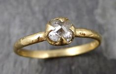 Fancy cut white Diamond Solitaire Engagement 14k yellow Gold Wedding Ring byAngeline 0876