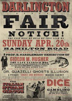 DARLINGTON FAIR printed in blueback paper