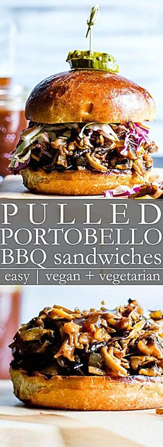Pulled Portobello Bbq Sandwiches A Vegetarian Bbq Sandwich? Indeed Please Sweet. What's more, Finger-Licking Good Pulled Mushroom Bbq Sandwiches Come Together In About 30 Minutes And Are Freezer Friendly Vegan Gluten Free Yummy Recipes, Whole Food Recipes, Vegan Recipes, Cooking Recipes, Easter Recipes, Vegetarian Sandwich Recipes, Good Vegetarian Recipes, Vegetarian Junk Food, Vegan Menu