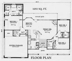 Ranch House Plan 45494 Ranch house plans Ranch and Cabin floor