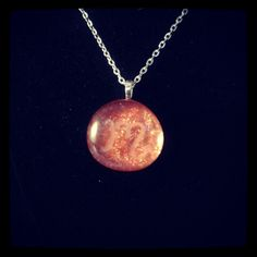 Custom Request 003 Scorpio Amulet in Orange Hand Engraved Glass Stone Pendant (With Fire Crackle Glitter Texture)