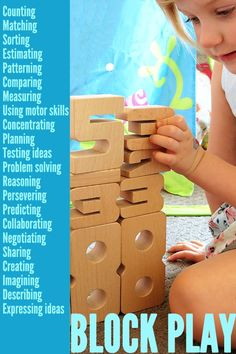 Blocks and construction toys are fabulous learning toys for children of all ages. Here are more than 20 ways children learn while playing with blocks. Learning Stories, Play Based Learning, Home Learning, Learning Through Play, Learning Toys, Learning Activities, Activities For Kids, Steam Activities, Early Learning