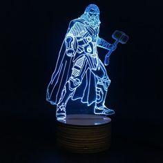 Don't be shy. Treat yourself! 1Piece Novelty Marvel Superhero The Avenger Figure Thor 3D Table Lamp LED Night Light for Marvel fans