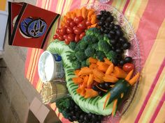 Dragon veggie tray for our Ninja Party