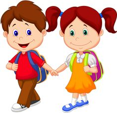Cute Cartoon Boy And Girl Images Are Free To Copy. All Clipart Images Are On A Transparent Background Kids Going To School, The New School, New School Year, School Today, Cute Cartoon Boy, Cartoon Kids, Happy Cartoon, Cartoon Posters, Pre Primary School