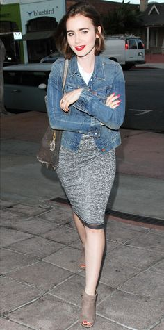 —the denim jacket—and styled it with a white top, a skin-skimming heather gray pencil skirt,