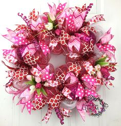 Deco Mesh Valentines Wreath in Hot Pink by SouthernCharmWreaths