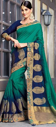 Traditional Green color Saree in Raw Silk, Silk fabric with Thread work Traditional Sarees, Thread Work, Silk Fabric, Green Colors, Sari, Fashion, Saree, Moda, Colors Of Green
