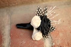 ALL NATURAL- Black and White Boutonniere with guinea feathers $19.00