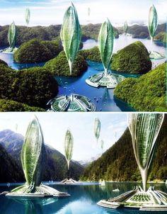 flying gardens OR alien space pods?