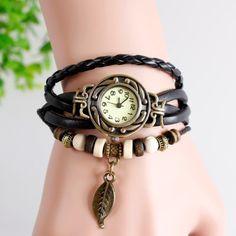 Alta qualidade relogio mulheres couro relógios Vintage pulseira de pulso folha pingente de borboleta pingente relógio feminino em Relógios esportivos de Relógios no AliExpress.com | Alibaba Group