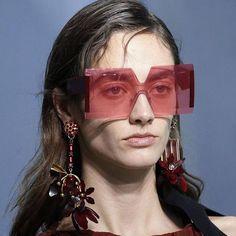 #FASHION #NEW Pop Age 2018 New Fashion Rimless Sunglasses Women Luxury Oversized Celebrity Red Lens Sun Glasses Brand Designer Eyeglasses