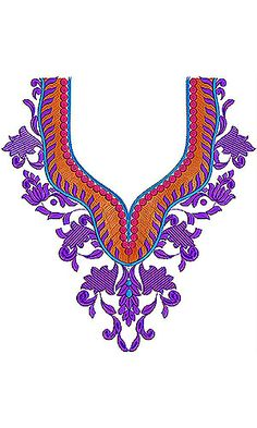 Fashion Flapper Era Modern Dress Neck Embroidery Design