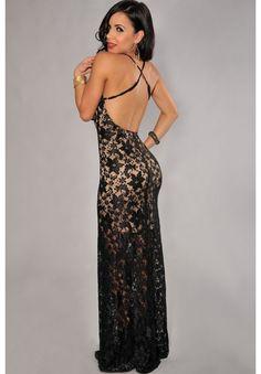 Sexy Women's V-Neck Criss-Cross Backless Lace Dress Nice Dresses, Formal Dresses, Floor Length Dresses, Affordable Clothes, Summer Dresses For Women, Special Occasion Dresses, Dresses Online, Lace Dress, Evening Dresses