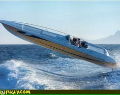 Google Image Result for http://www.fugly.com/media/IMAGES/Random/cigarette_boat_jumping_wave.jpg Power Boats, Speed Boats, Plywood Boat Plans, Wooden Boat Plans, Tug Boats, Runabout Boat, Boat Dock, Sailboat, Wooden Boats