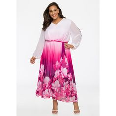 Ashley Stewart Ombre Floral Chiffon Maxi Dress Purple Magic ($70) ❤ liked on Polyvore featuring dresses, plus size purple dress, plus size maxi dresses, purple maxi dress, long-sleeve floral dresses and plus size floral dresses