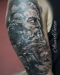 tattoo zeus greek gods tattoo zeus _ tattoo zeus mythology _ tattoo zeus preto e cinza _ tattoo zeus poseidon _ tattoo zeus greek gods _ tattoo zeus desenho _ tattoo zeus realismo _ tattoo zeus design Poseidon Tattoo, Zeus Tattoo, Rip Tattoo, Tattoo Design Drawings, Tattoo Sleeve Designs, Sleeve Tattoos, God Tattoos, Body Art Tattoos, Tattoos For Guys