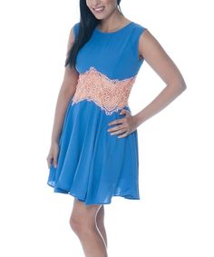 Take a look at this English Rose Blue & Pink Lace Sleeveless Dress on zulily today!