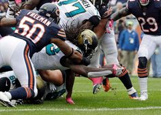 Jaguars vs. Bears:    October 16, 2016  -  17-16, Jaguars  -     Jacksonville Jaguars running back Chris Ivory (33) comes up short of the end zone as he is hit by Chicago Bears inside linebacker Jerrell Freeman (50) during the first half of an NFL football game in Chicago, Sunday, Oct. 16, 2016.