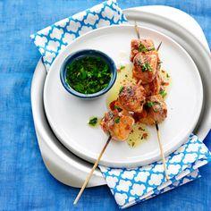 Pancetta wrapped salmon kebabs