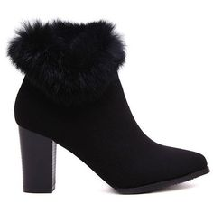 Faux Fur Suede Chunky Heel Short Boots ($38) ❤ liked on Polyvore featuring shoes, boots, ankle booties, thick heel booties, suede ankle booties, chunky heel booties, thick heel ankle boots and suede boots