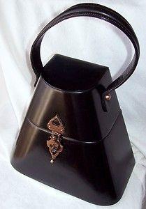1920s MILGRIM Black Leather Box Purse Handbag