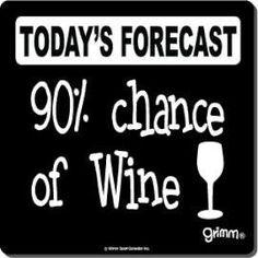 Pronóstico de hoy: 90% de oportunidad de vino!
