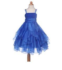 Elegant Stunning Royal Blue Organza flower girl dress princess pageant wedding bridal bridesmaid toddler size 12-18m 2 4 6 8 9 10 12 14 #151