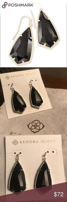 "Kendra Scott Carla Earrings in Black!! Our custom kite silhouette teams up with a delicate metallic frame to create the Carla Gold Drop Earrings in Black, a classic and feminine accent to any outfit.  • 14K Gold Plated Over Brass • Size: 1.85""L x 0.72""W on earwire • Material: black opaque glass Kendra Scott Jewelry Earrings"