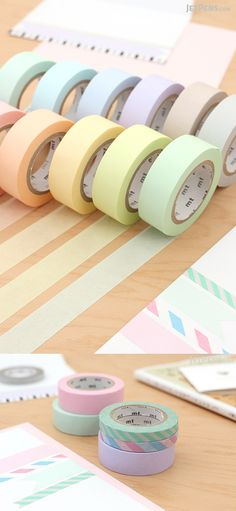 MT Solids Washi Tapes in 12 pastel colors are perfect for accenting scrapbooks, gift cards, and calendars. They are easy to remove and reposition, yet stick securely.
