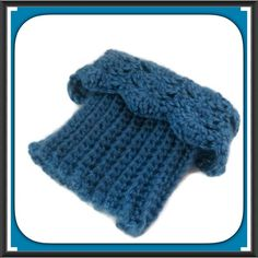 NEW Boot Cuffs Crochet Toppers Blue Handmade Handmade crochet. Reversible, wear ribbed side for a casual look, or lacy scallop edge for a fall fashion, fancy trendy look.  Wear these chunky boot cuffs straight up, or fold over top of boot.  Made from soft acrylic yarn in shades of Teal Blue  Ribbed bottom stretches to fit most calf sizes.  Machine Wash  Crochet Handmade in USA Handmade Accessories Hosiery & Socks