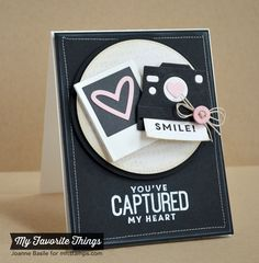 card camera MFT cute cameras Die-namics smile technique photo MFT Picture This Die-namics You've Captured My Heart Love Cards, Diy Cards, Camera Cards, Mft Stamps, Scrapbook Cards, Scrapbook Cover, Valentine Day Cards, Anniversary Cards, Greeting Cards Handmade
