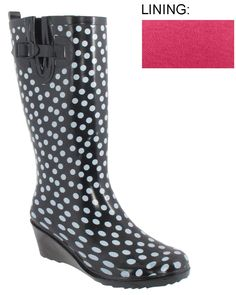 Rainboots with a wedge! Capelli New York Ladies Polka Dot Wedge Rain Boot Black Combo 6