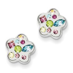 Sterling Silver Rhodium Plated Stellux Crystal Ball Post Earrings