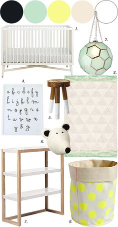 Whites & Subtle Color in the Nursery, via @The Spearmint Blogs. Spotted our Dip Dyed Stool, Mounted Polar Bear, and Lark Shelf! #serenaandlily