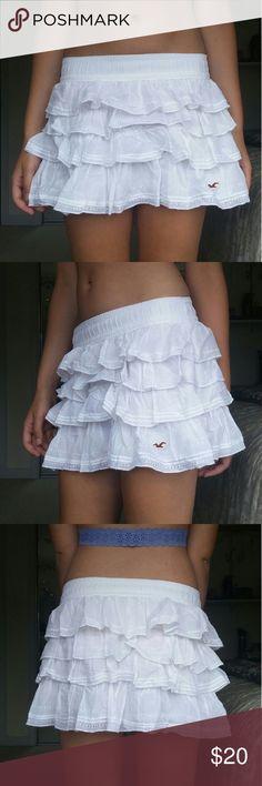Hollister White Ruffle Skirt Small Worn once. Perfectly clean. Hollister size small. Hollister Skirts Mini