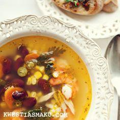 Zupa meksykańska z krewetkami i czerwoną fasolą