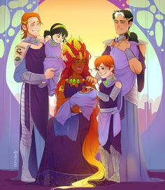 Based offthis idea- and because I can't help it I put it in the context of Queen Koriand'r and her beloved Consorts raising their little patchwork family on Tamaran Teen Titans Love, Original Teen Titans, Teen Titans Fanart, Arte Dc Comics, Manga Comics, New 52, Enfants Fairy Tail, Nightwing And Starfire, Raven Beast Boy