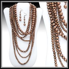 Beautiful statement copper bronze multi strand layered beaded necklace and earring set  available at www.Shop-Southern-Charm.com